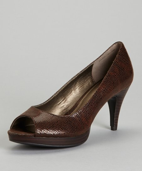 Dark Brown Mylah Peep-Toe Pump