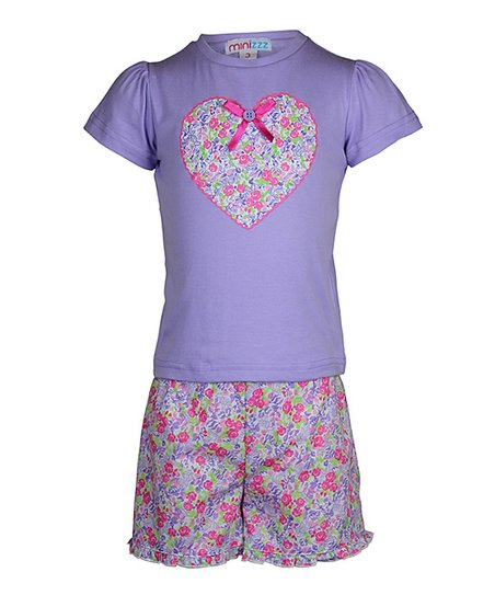 Lilac Summer Garden Shorts Pajama Set - Toddler & Girls