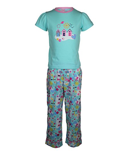 Aqua Beach House Pajama Set - Toddler & Girls