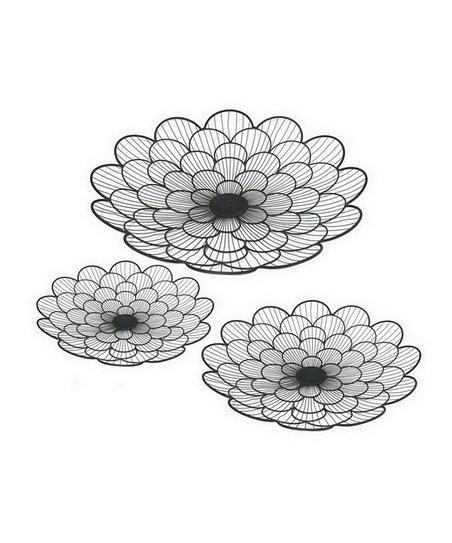 Black Flower Tray Set