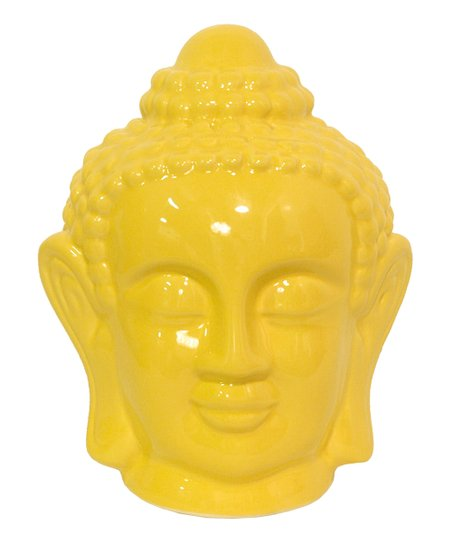 Yellow 8'' Buddha Head Figurine