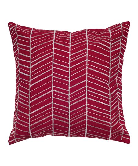 Red & White Herringbone Throw Pillow