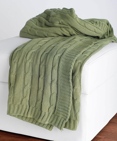 Olive Cable-Knit Throw