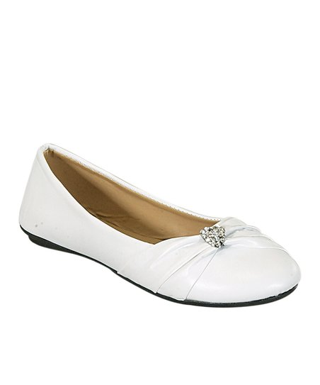 White May Rhinestone Heart Ballet Flat