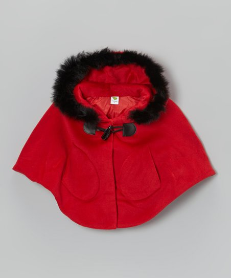 Red Faux Fur Hooded Poncho - Girls