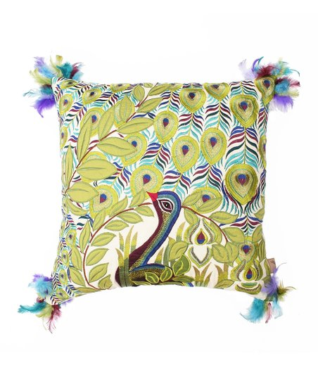 Blue & Green Peacock Feather Atria Pillow