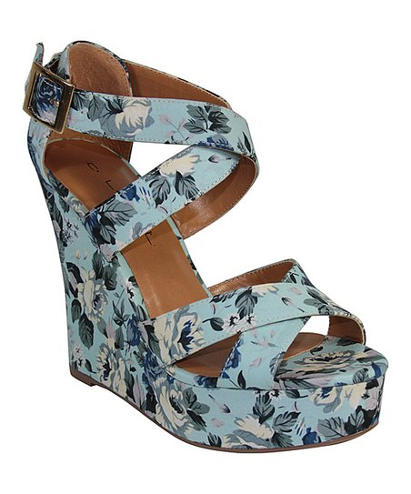 Blue Floral Heart Wedge