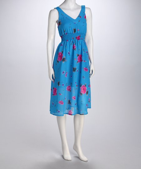 Blue Wildflower V-Neck Dress
