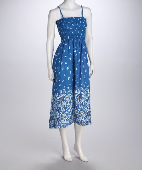 Blue Butterfly Smocked Dress