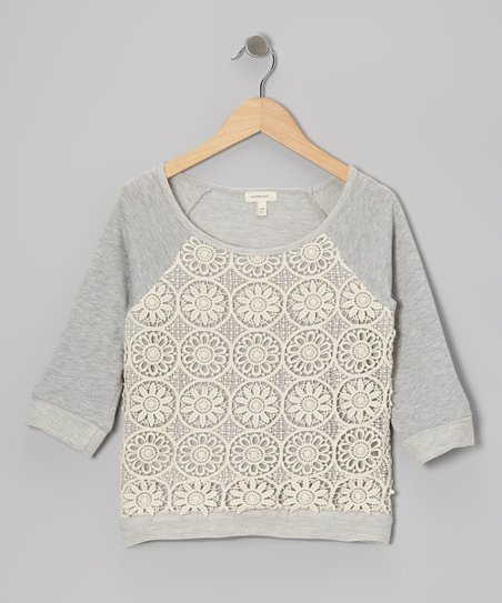 Light Heather Crocheted Raglan Top - Toddler & Girls