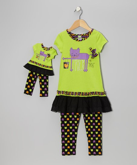 Green Cat Tunic Set & Doll Outfit - Girls