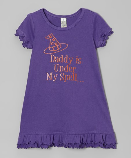 Purple 'Daddy is Under My Spell' Dress - Infant, Toddler & Girls