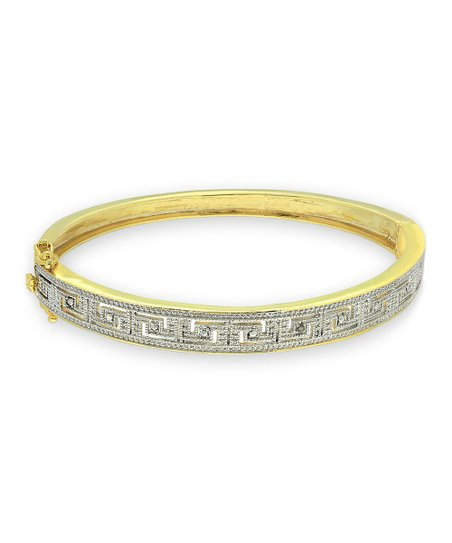 Diamond & Gold Greek Key Design Bangle