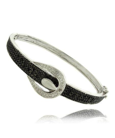 Black & White Diamond & Silver Buckle Bangle