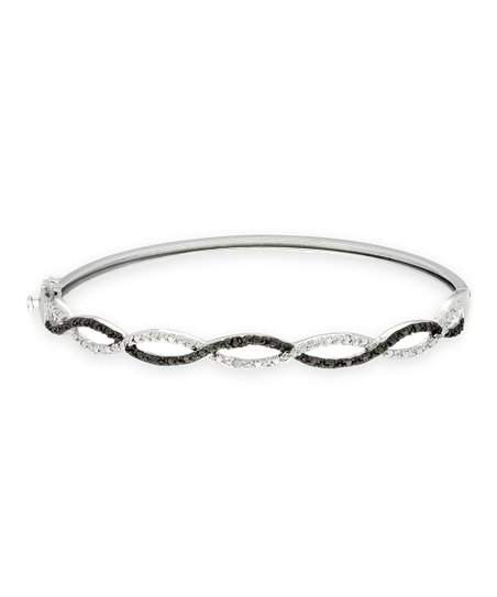 Black & White Diamond & Silver Infinity Bangle
