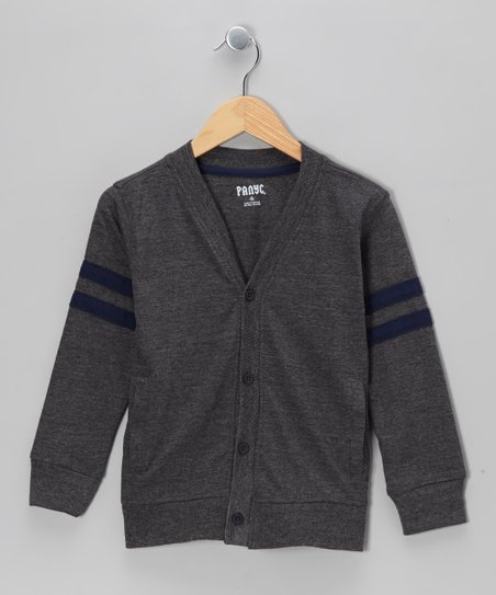 Charcoal Varsity Cardigan - Toddler & Boys