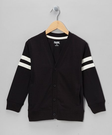 Charcoal & White Varsity Cardigan - Toddler & Boys