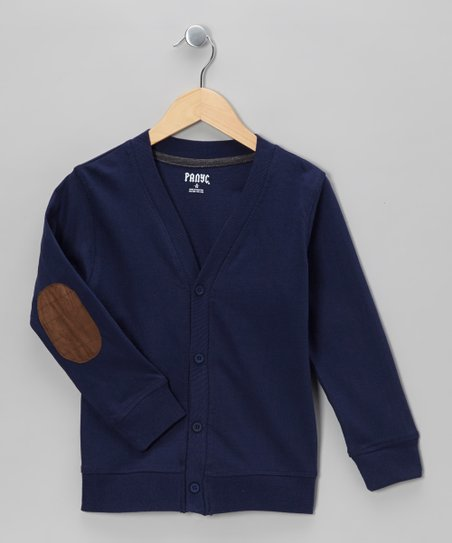 Blue Varsity Elbow Patch Cardigan - Boys
