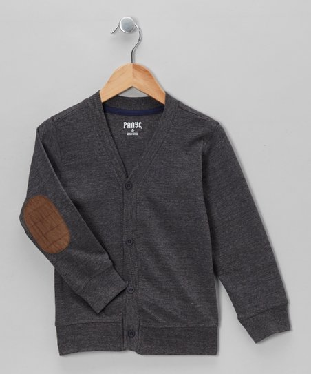 Charcoal Varsity Elbow Patch Cardigan - Boys