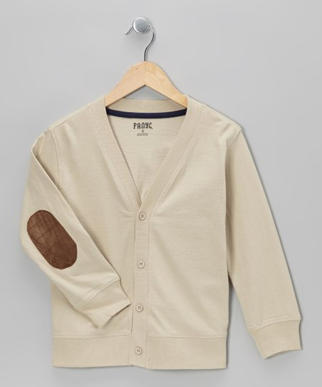 Cream Varsity Elbow Patch Cardigan - Boys
