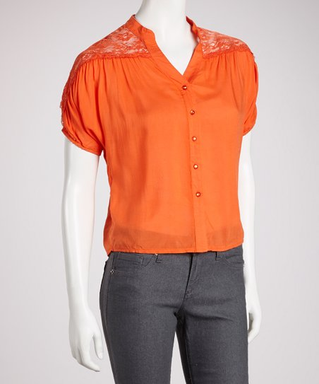 Coral Lace-Back Short-Sleeve Button-Up Top