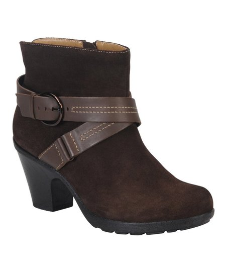 Dark Brown & Coffee Suede Cady Ankle Boot