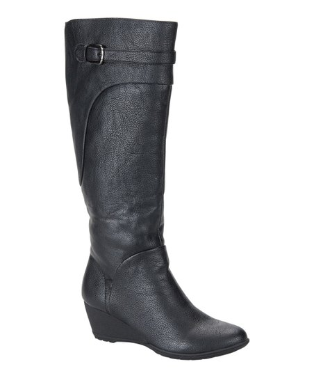 Black Oliva Wedge Boot