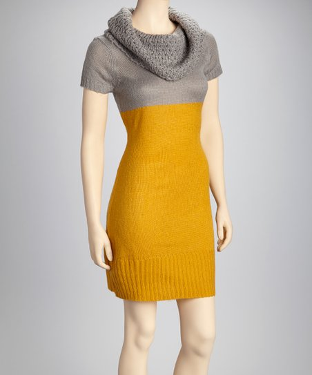 Mustard & Gray Sweater Dress