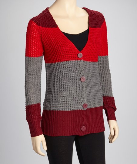 Red & Gray V-Neck Cardigan