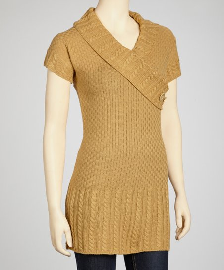 Camel Short-Sleeve Surplice Sweater