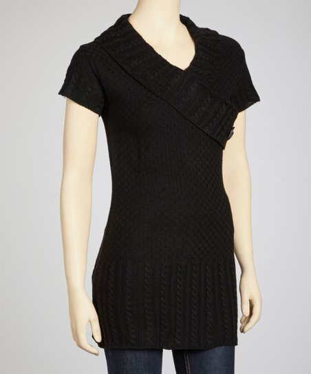 Black Short-Sleeve Surplice Sweater