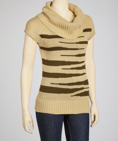 Stone & Olive Cowl Neck Short-Sleeve Sweater