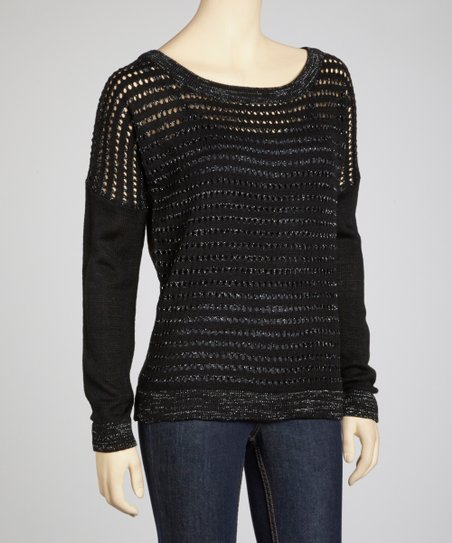 Black Perforated Sweater
