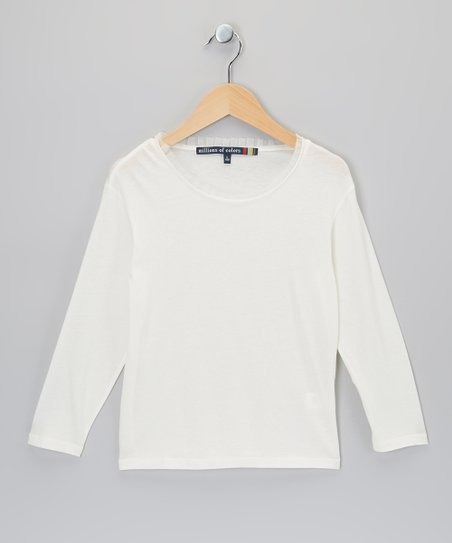 Ivory Raw-Edge Tee - Girls