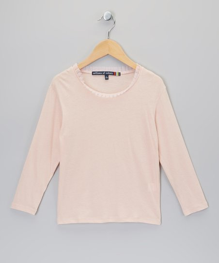 Light Pink Raw-Edge Tee - Girls