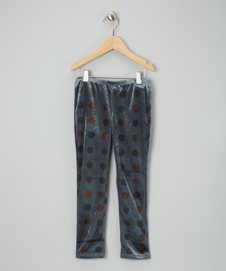 Gray Polka Dot Leggings - Girls