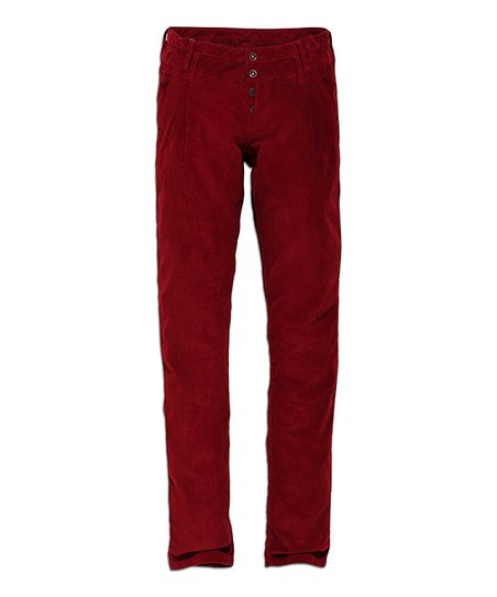 Dark Red Straight-Leg Pants