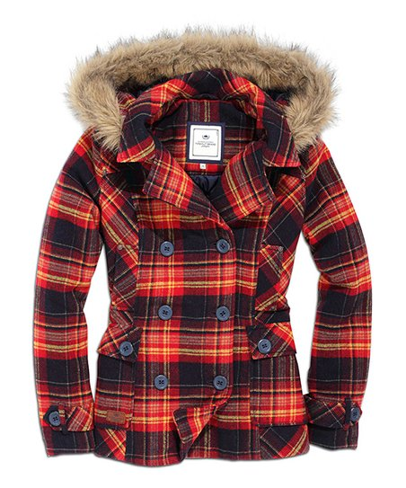 Dark Red Plaid Wool-Blend Hoodie Jacket