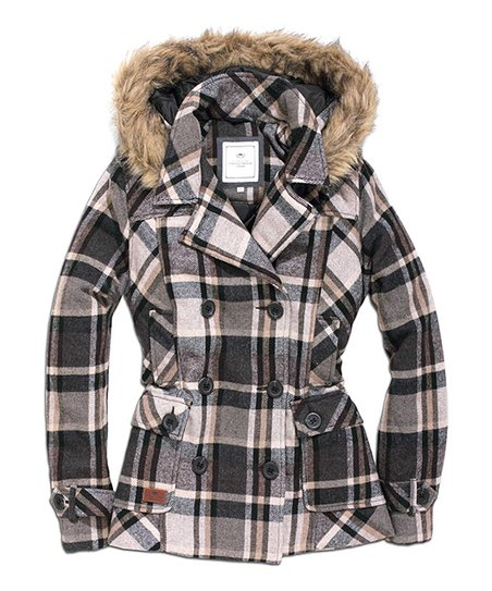 Gray Plaid Wool-Blend Hoodie Jacket