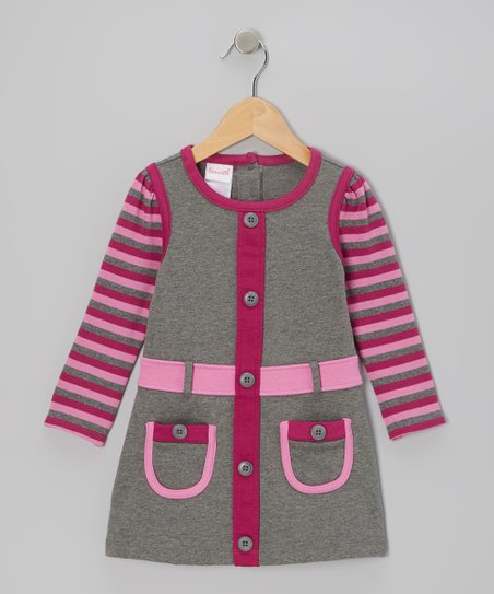 Gray Stripe Long-Sleeve Dress - Infant & Girls