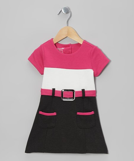 Pink Color Block Belted Cap-Sleeve Dress - Toddler & Girls