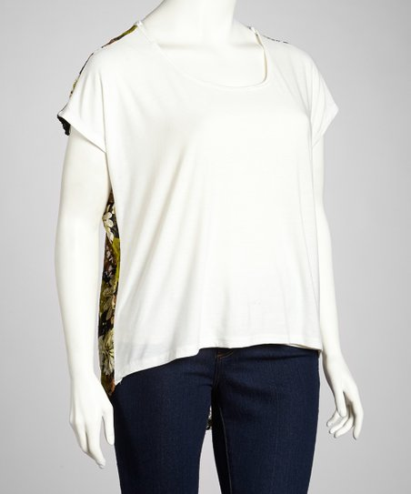 Ivory & Olive Floral-Back Top - Plus