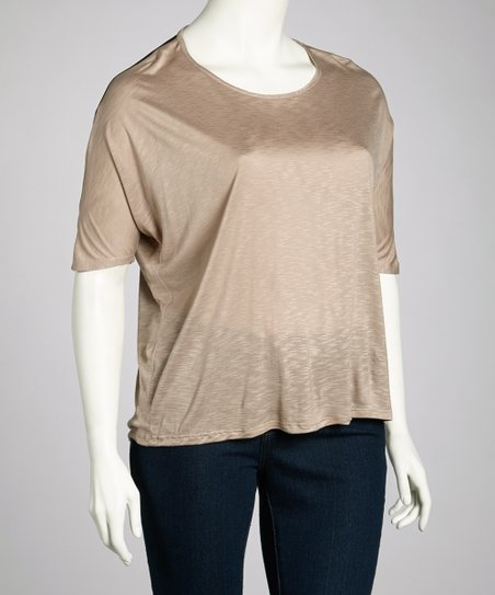 Khaki Sheer-Back Top - Plus