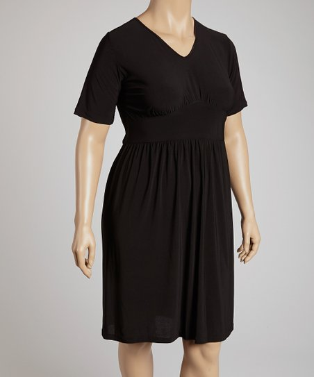 Black Short-Sleeve V-Neck Dress - Plus