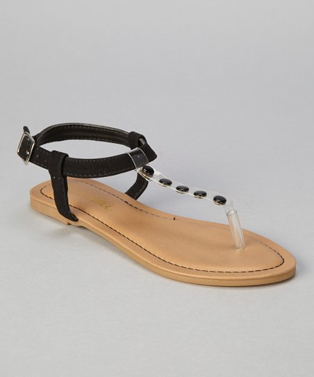 Black Button Bear T-Strap Sandal