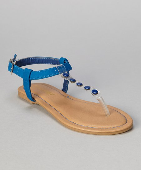 Blue Button Bear T-Strap Sandal