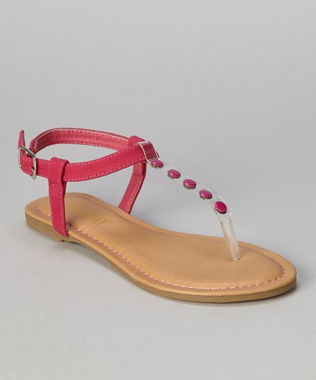 Fuchsia Button Bear T-Strap Sandal