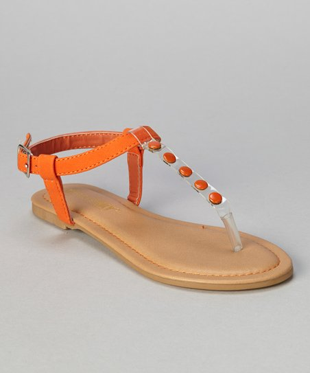 Orange Button Bear T-Strap Sandal