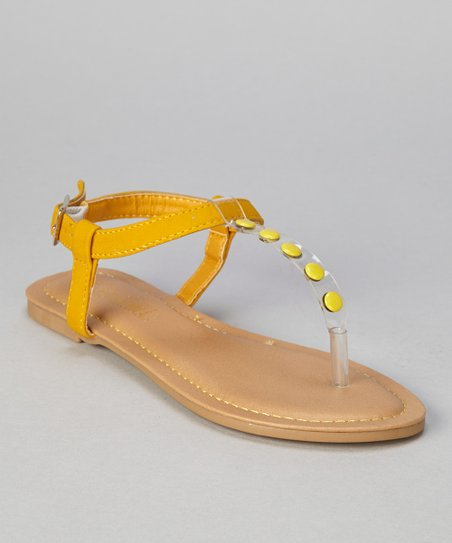 Yellow Button Bear T-Strap Sandal