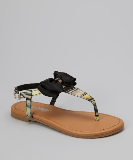 Black Bow Ellie T-Strap Sandal